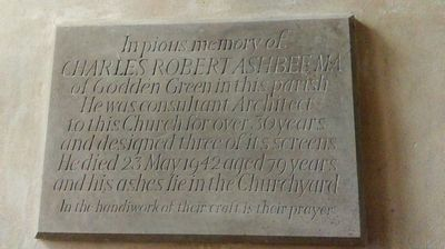 C R Ashbee's memorial tablet in Seal Church